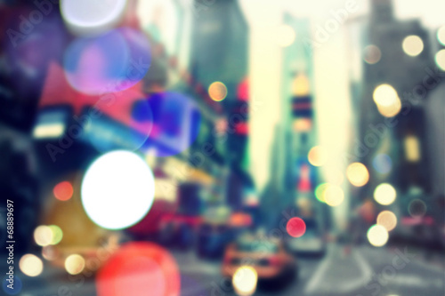 Poster New York TAXI Blurred bokeh New York
