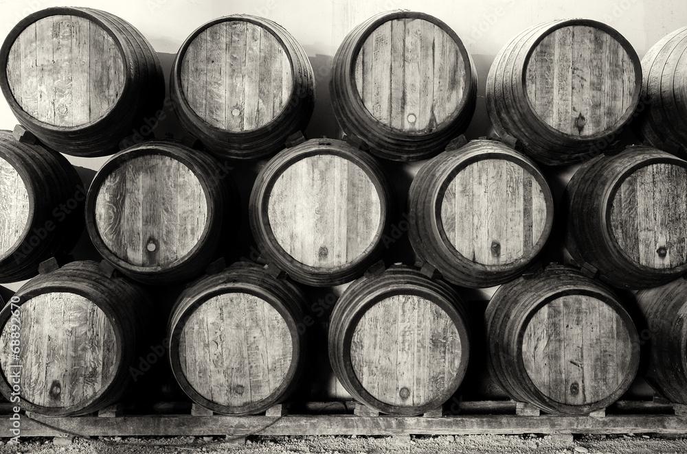 Fototapeta Whisky or wine barrels in black and white