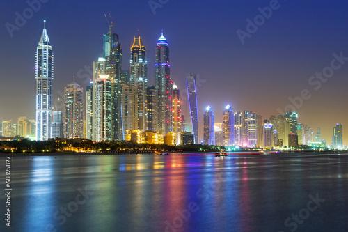 Poster Cityscape of Dubai at night, United Arab Emirates