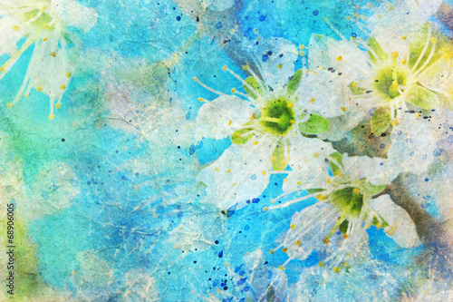 messy watercolor splatter and blooming spring twig