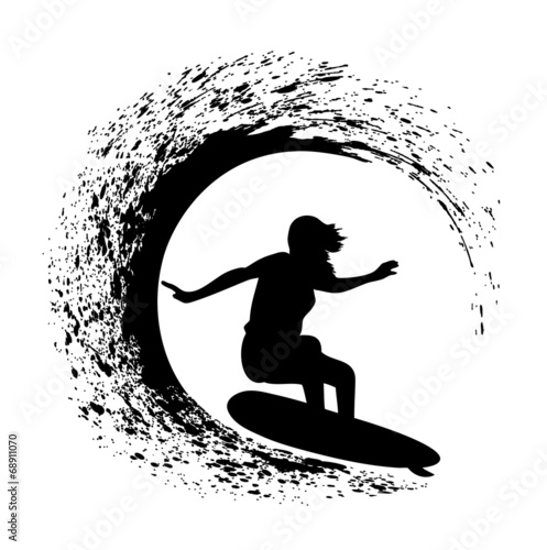 silhouette of the surfer on an ocean wave in style grunge #68911070