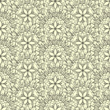 Seamless pattern of feathers leafs and flowers