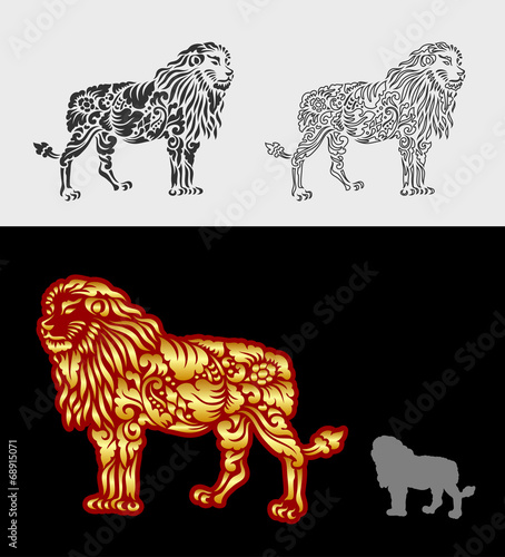 Lion pattern floral ornament decoration