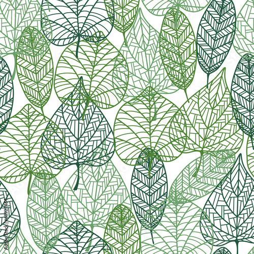 Green leaves seamless pattern #68927464
