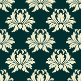 Floral seamless pattern with light green flowers on dark green
