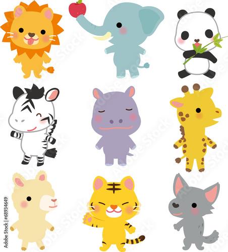 Poster de jardin Zoo 動物園の動物のキャラクター