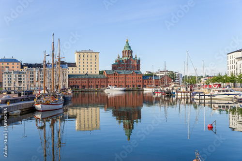 Canvas Print Helsinki. Yachts in the harbor