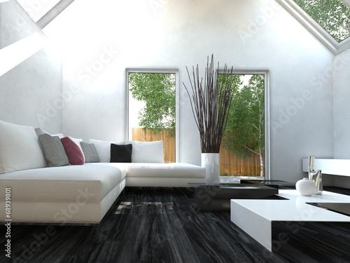 Moderners Wohnzimmer Mit Dachschragen Und Couch Buy This Stock