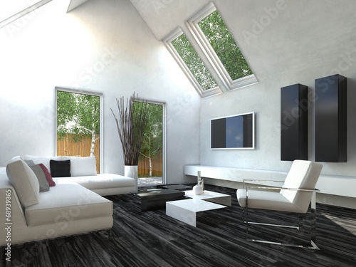 Modernes Design Wohnzimmer Mit Schwarzen Und Weißen Möbeln