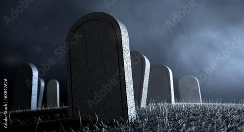 Graveyard Tombstones At Night Wallpaper Mural