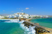 Waves Breaking On Naxos Town P...