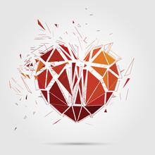 Abstract Broken Heart. 3d Vector Illustration.