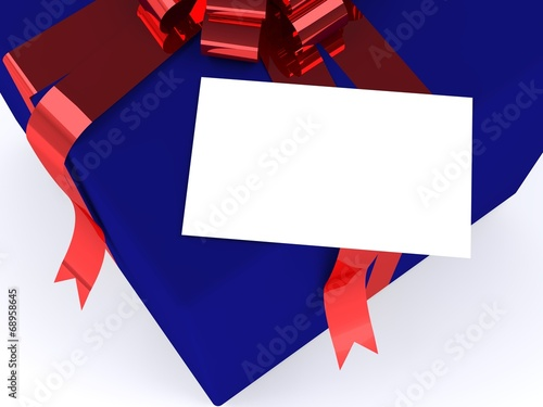 Poster Geometrische dieren blue gift box with red ribbon and gift card