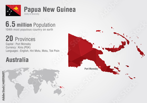 Papua new guinea world map with a pixel diamond texture. - Buy this ...