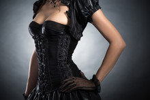 Close-up Shot Of An Elegant Woman In Victorian Style Corset