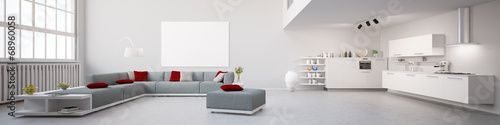 Obraz Interior Loft Apartment Panorama - fototapety do salonu