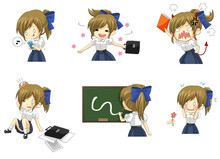 Cute Thai Schoolgirl Student In Various Activities And Emotion I