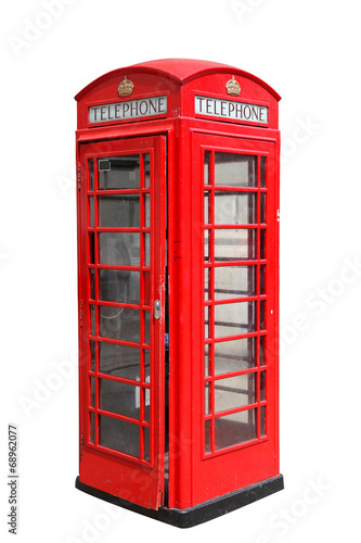 Classic British red phone booth in London, isolated on white Poster