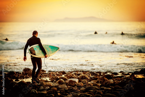 Photo  Surfer sunset