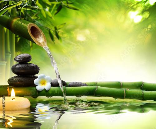 Doppelrollo mit Motiv - spa stones in garden with flow water