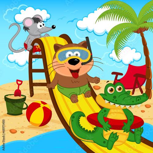 animals in aqua park - vector illustration, eps