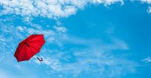 Red Umbrella With Blue Sky