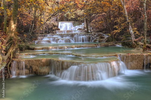 autumm waterfall in deep forest