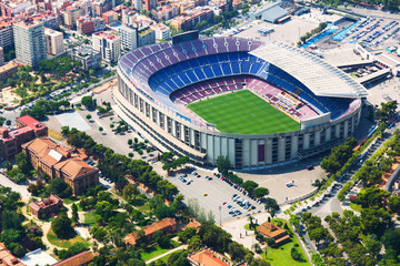 Panel Szklany Largest stadium of Barcelona from helicopter. Catalonia