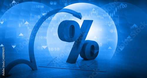 Photo  Moving arrow with percentage symbol