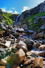Waterfall On Ben Nevis Mountain