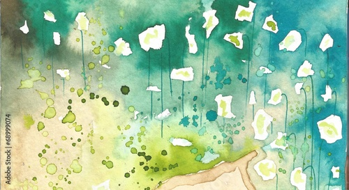 Poster Painterly Inspiration white flowers,