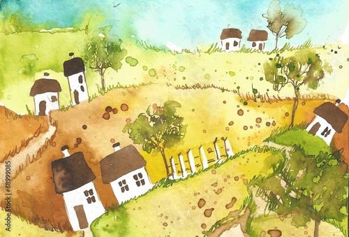 Garden Poster Painterly Inspiration village,