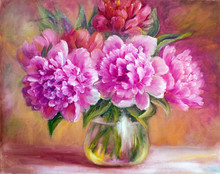 Peonies In Vase, Oil Painting ...