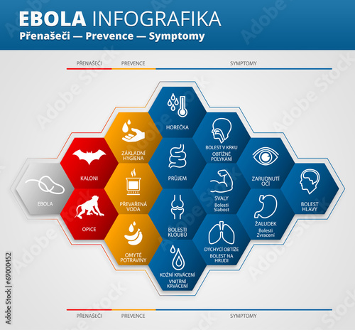 Fotografie, Obraz  Ebola virus infografika česky