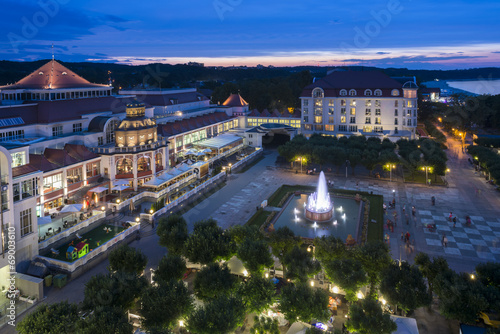 Aerial, night view of Sopot molo square in Poland #69003610