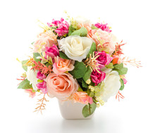 Bouquet Flowers Isolated On Wh...