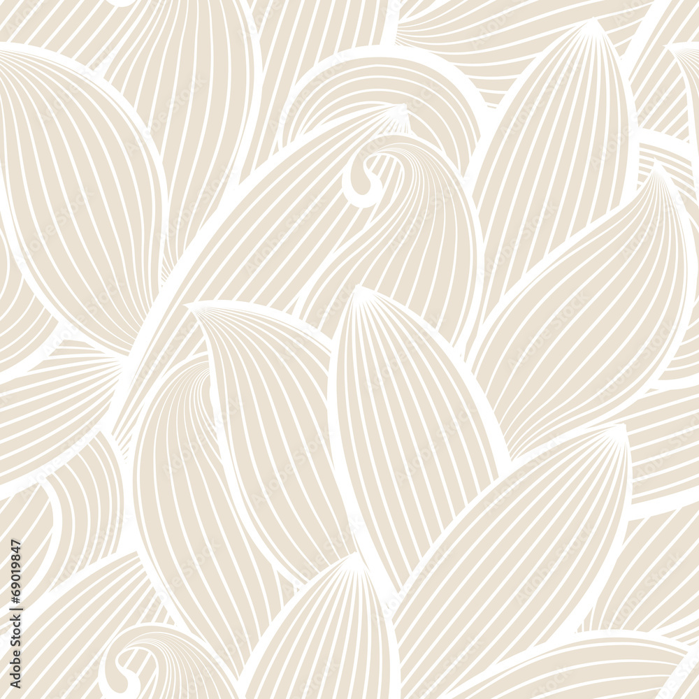 Fototapeta Vector seamless hand-drawn pattern with leaf.