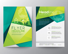 Abstract Green Color Triangle Flyer Design Template