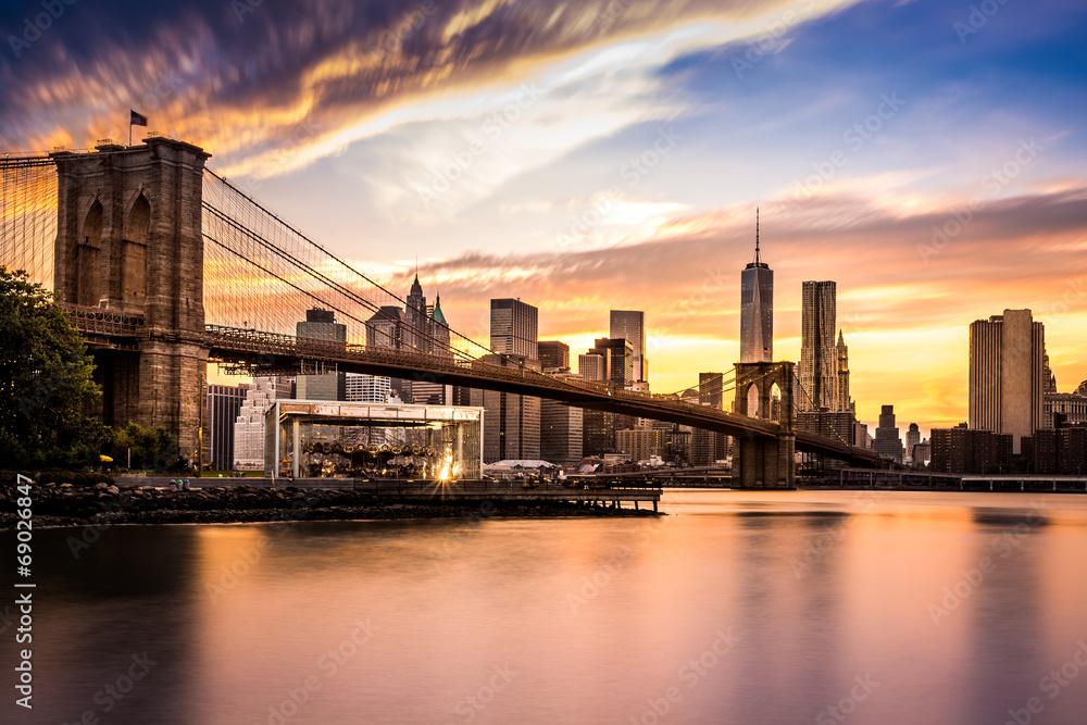 Fototapety, obrazy: Brooklyn Bridge at sunset