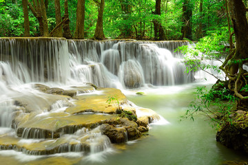 Fototapeta samoprzylepna Waterfall in tropical deep forest at Huay Maekhamin
