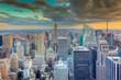 Paesaggio urbano di new york con grattacieli