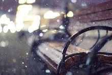 Night Snow Park Bench