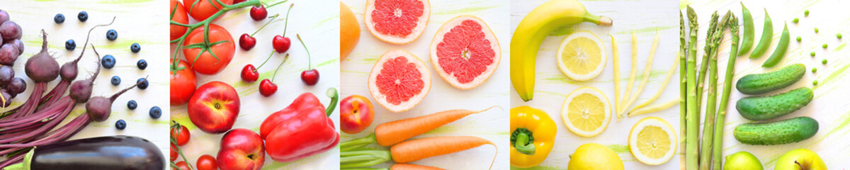 kolaż owoce i warzywa w kolorach tęczy