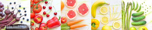 Foto op Plexiglas Verse groenten kolaż owoce i warzywa w kolorach tęczy