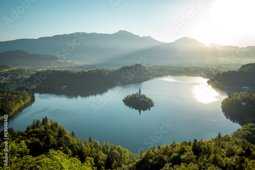 Poster Taupe Bird view on Bled lake in Slovenia