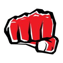 Freedom Concept. Vector Red Fist Icon.