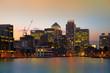 London, Canary Wharf in dusk