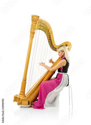 Stampa su Tela Woman with harp