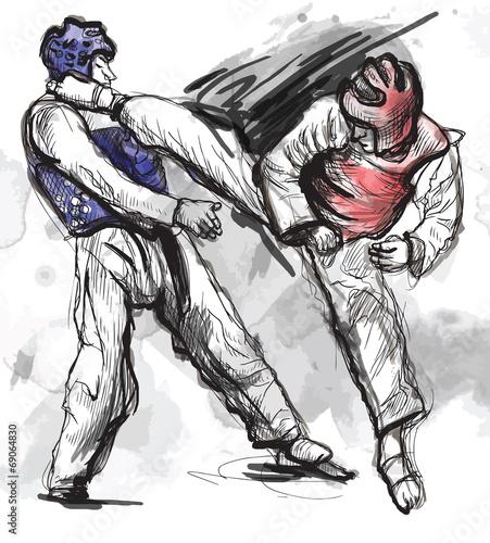 In de dag Art Studio TaeKwon-Do. Hand drawn (calligraphic and grunge) vector