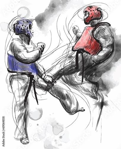 Staande foto Schilderingen TaeKwon-Do. Hand drawn (calligraphic and grunge) vector